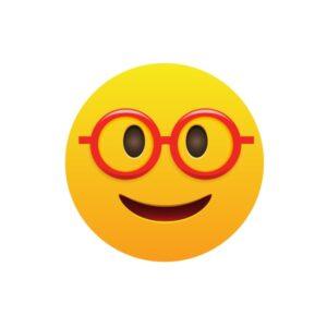 Bügelbild Emoji Nerd