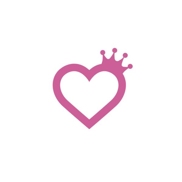Bügelbild Herz mit Krone