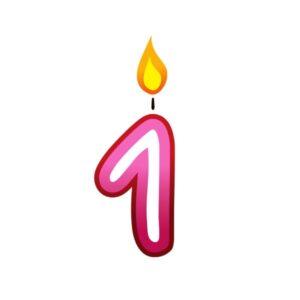 Bügelbild Kerzenzahl 1