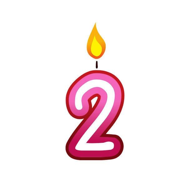 Bügelbild Kerzenzahl 2