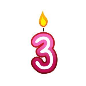 Bügelbild Kerzenzahl 3