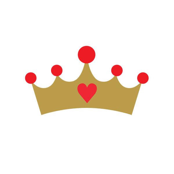 Bügelbild Krone mit Herz