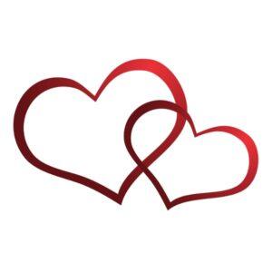 Bügelbild Verbundene Herzen