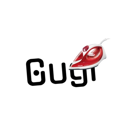"""Wunschtext """"Gugi"""" als Bügelschrift"""