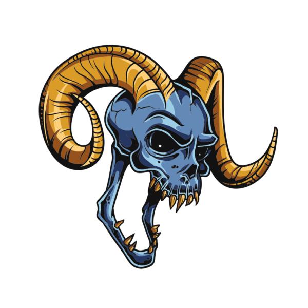Bügelbild Longhorns Skull