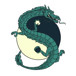 Bügelbild Ying-Yang Drache
