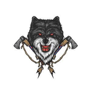 Bügelbild Wolf and Tomahawk