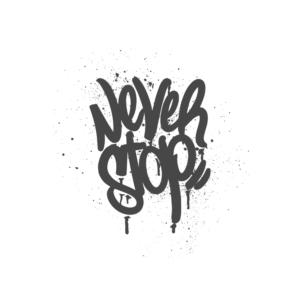 Bügelbild Never Stop