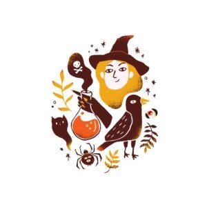 Bügelbild Halloween Hexe