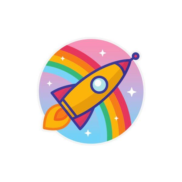 Bügelbild Rainbow Rakete