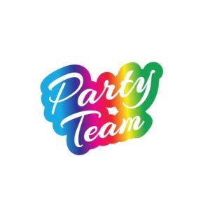 Bügelbild Party Team