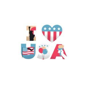 Bügelbild I Love USA